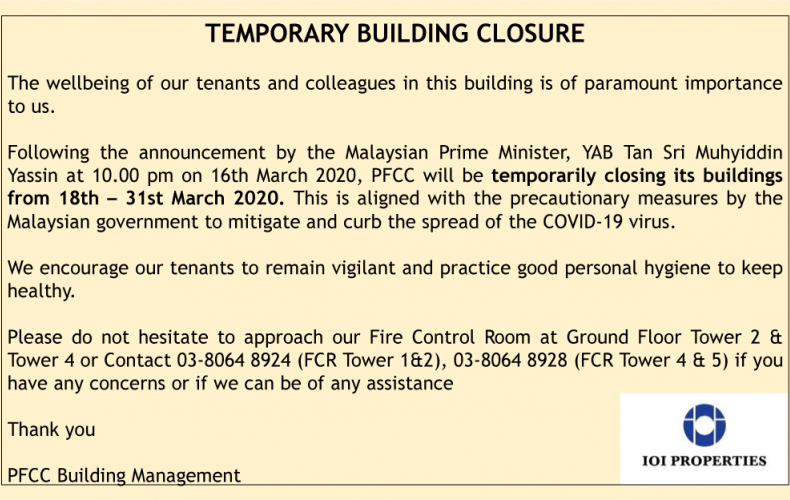 Closure Notice for Covid-19